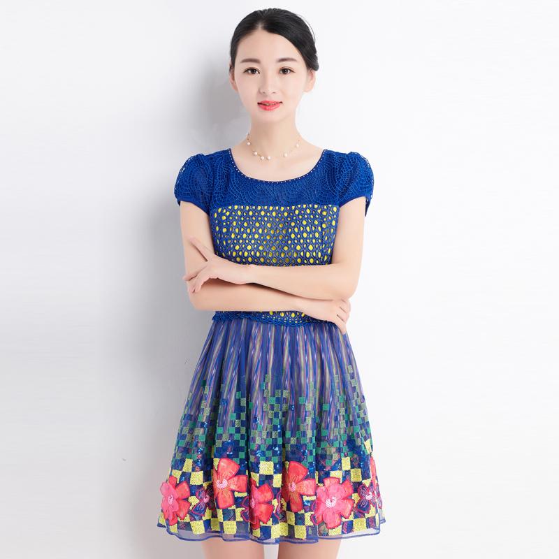 台湾品牌女装春夏新款魔婕时尚高档纱网蕾丝镂空连衣裙 短袖F5254