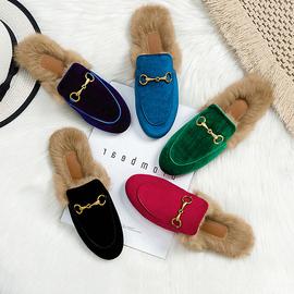 网红毛毛拖鞋女外穿秋冬2020新款兔毛丝绒平底包头半拖鞋女穆勒鞋