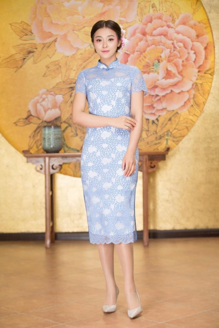 专柜正品梦至超2018新款夏装M17Y385时尚简约中长款气质蕾丝旗袍