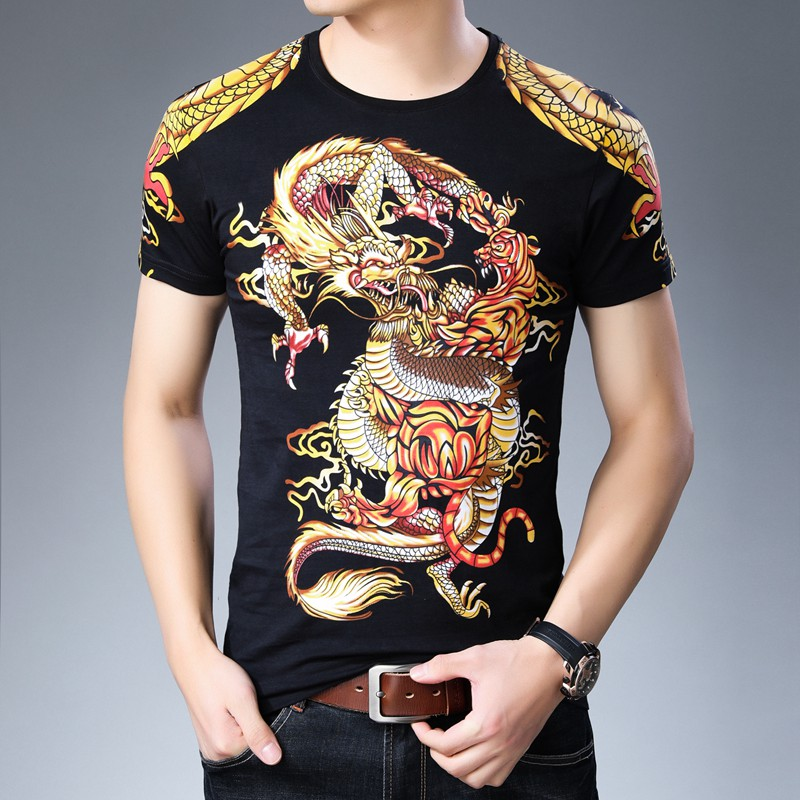 Trend personalized printed T-shirt aggressive mens dragon pattern short sleeve T-shirt comfortable modal cotton round neck half sleeve