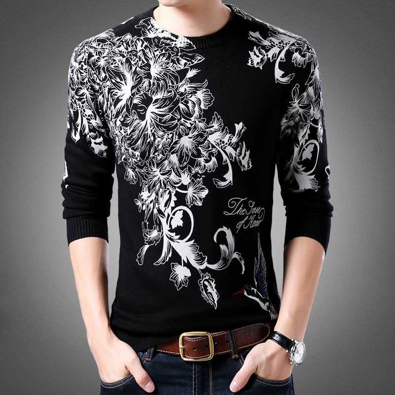 New casual sweater in autumn and winter 2020 fashionable flower and bird pattern printed knitwear mens round neck Pullover Sweater