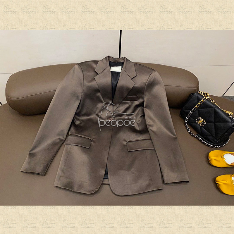 Spring and summer 2020 new versatile commuter imported Satin small silhouette design one button suit jacket