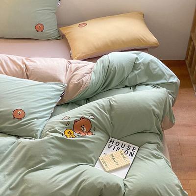 【直播推荐】多喜爱布朗熊系列针织棉刺绣套件全棉裸睡床笠款