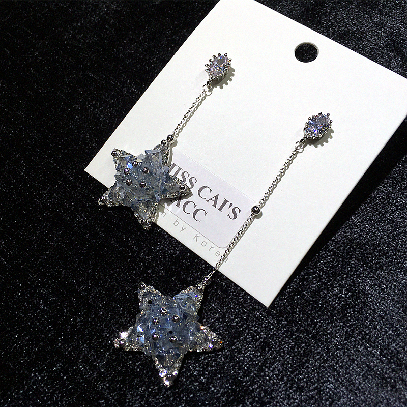 Earrings 2020 new spring and summer super flash asymmetric long big star crystal tassel with diamond S925 silver pin Earrings