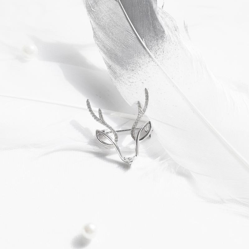 [本色BENSE官方店]原创银饰设一鹿有你 鹿角 手工纯银锆石女胸针
