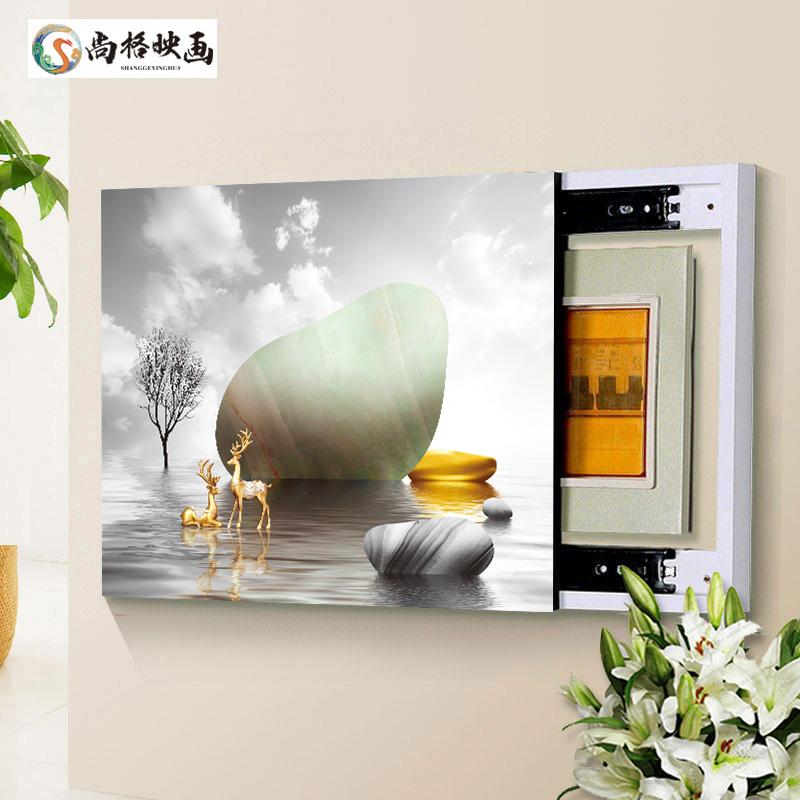 電表箱配電箱無框水晶裝飾畫電表盒電閘箱可推拉式遮擋畫支持定制