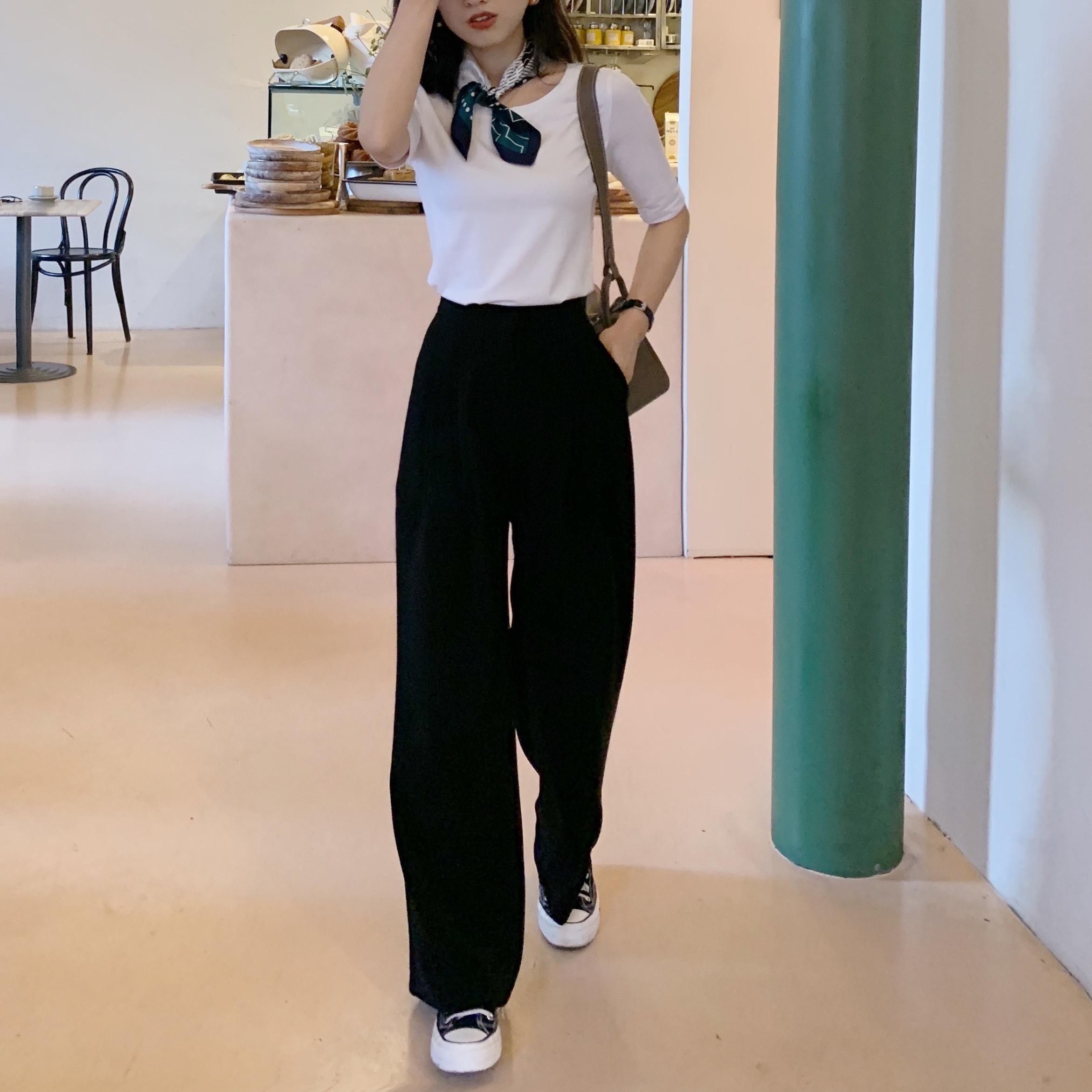 南瓜谷 黑色小西裤直筒高腰宽松显瘦休闲垂感百搭2020新款裤子女