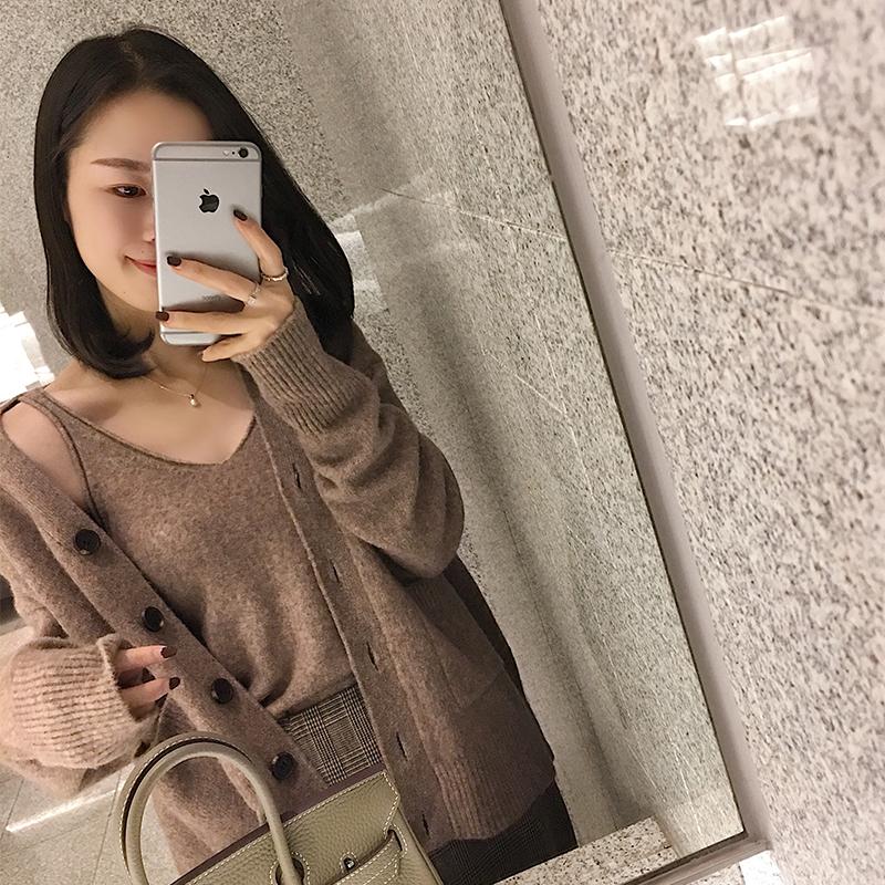 南瓜谷新款宽松长袖牦牛绒开衫短款针织衫+纯色小吊带Z188/B017