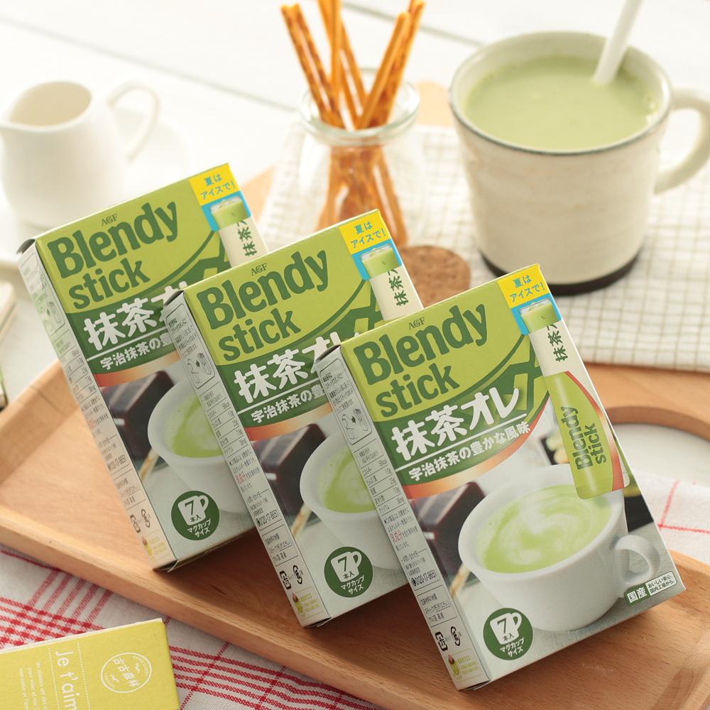 84g*3盒日本进口冲饮 AGF 宇治抹茶拿铁奶茶速溶抹茶奶茶7本入/盒