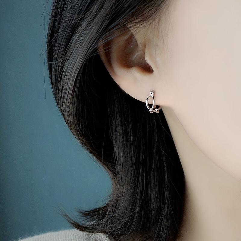 镂空U型s925纯银针耳钉小众设计感高级耳环冷淡风耳饰女气质日韩