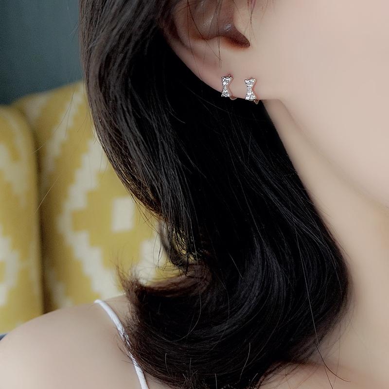 纯银蝴蝶结耳扣女水钻耳圈气质耳环耳饰品睡觉不用摘S925优品Z小