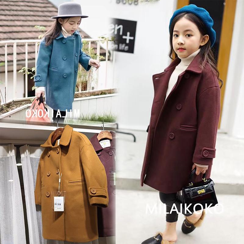 米莱2017秋冬新款童装女童中长款夹棉毛呢外套呢大衣超好版型