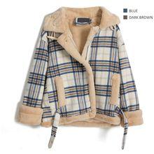Polo领羊羔毛秋冬外套厚牛角扣格子毛呢上衣女 单件超重 约1.2KG