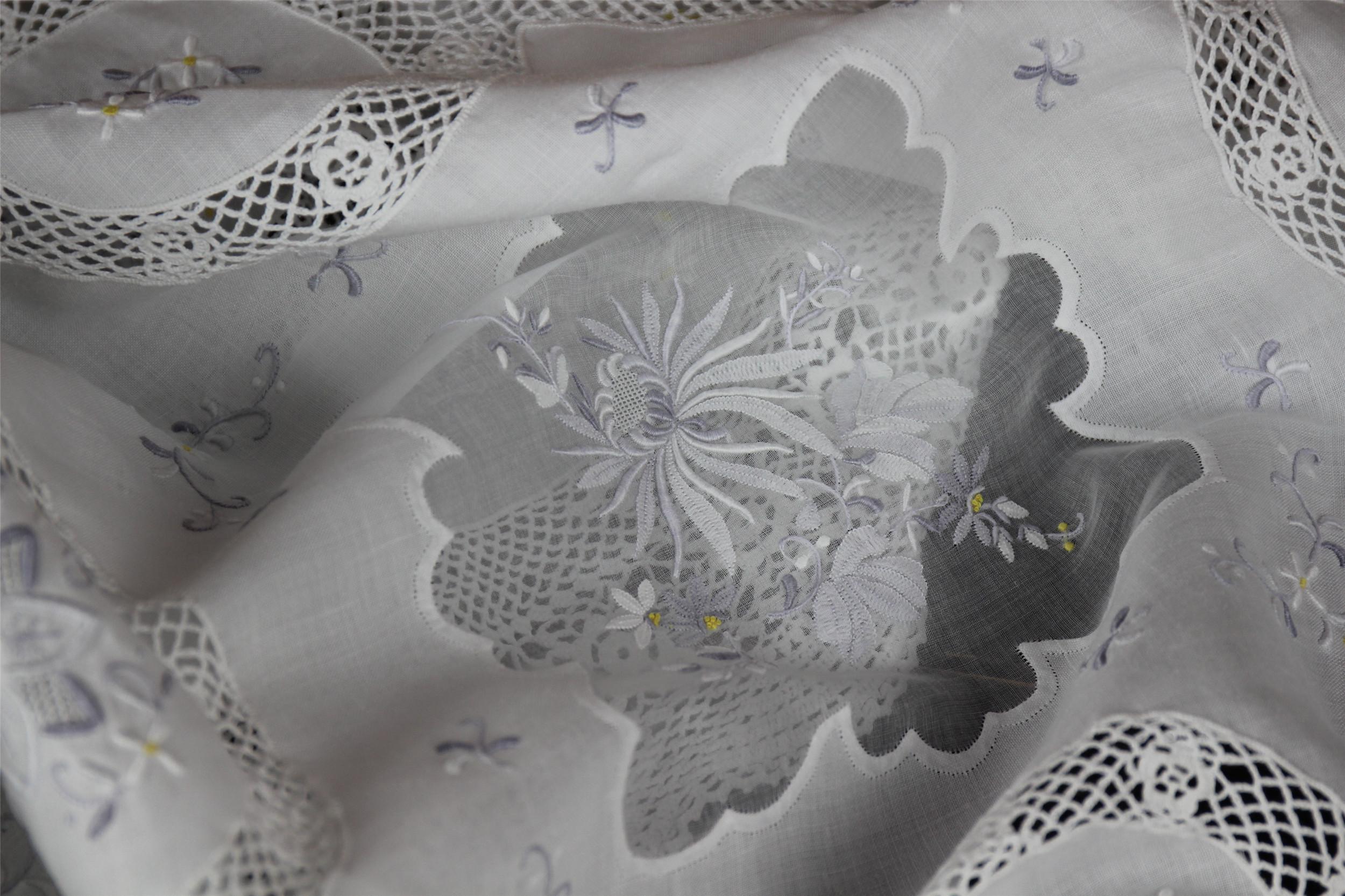 独家收藏|精品玻璃纱手工刺绣灰紫桌布瑞士进口玻璃纱床盖窗帘