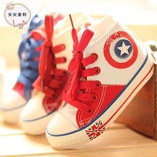 芭芭鸭2014新款韩版童鞋 男童帆布鞋女童高帮板鞋运动鞋单鞋