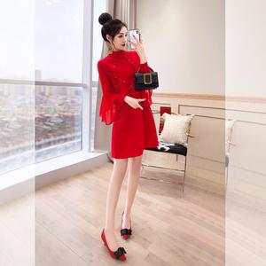 过年衣服女装喜庆新年女装2020年新款春装裙子礼服年会红色连衣裙