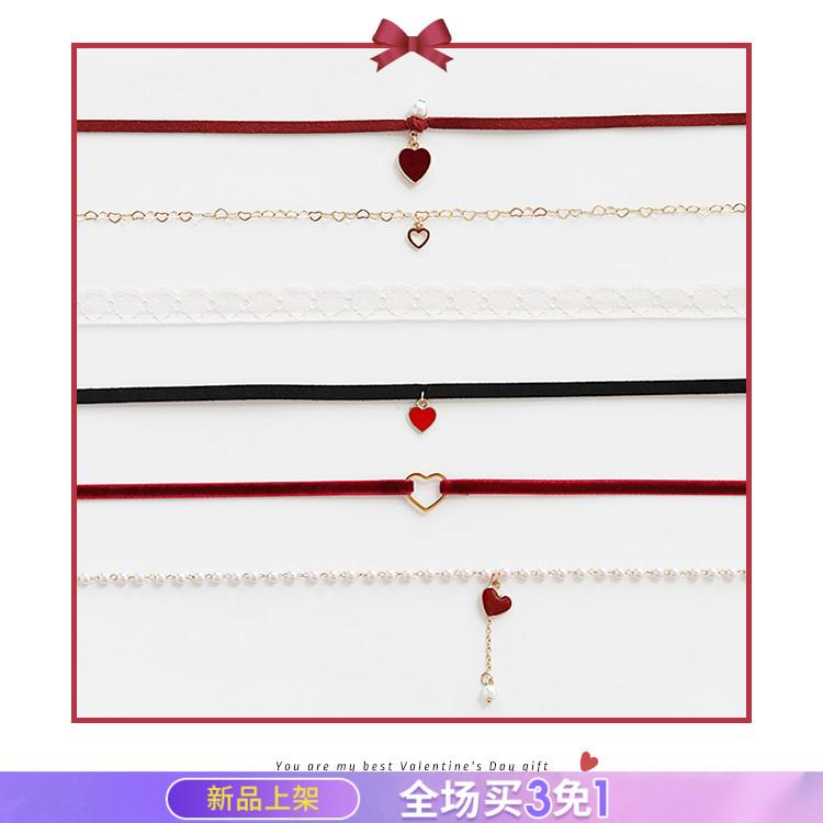 七夕情人节礼物!蕾丝锁骨链简约爱心项链少女choker红色短款颈链