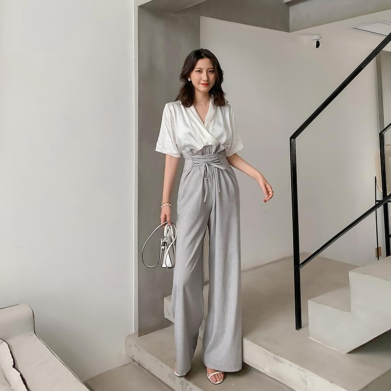 飒纳夏季新款设计感纯色抽绳简约高腰绑带花苞裤显瘦气质阔腿裤女