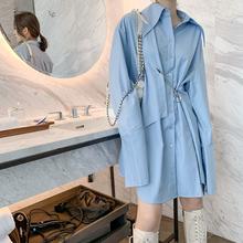 女长袖 飒纳2021春装 衬衫 蓝色中长款 复古不规则小众设计感连衣裙