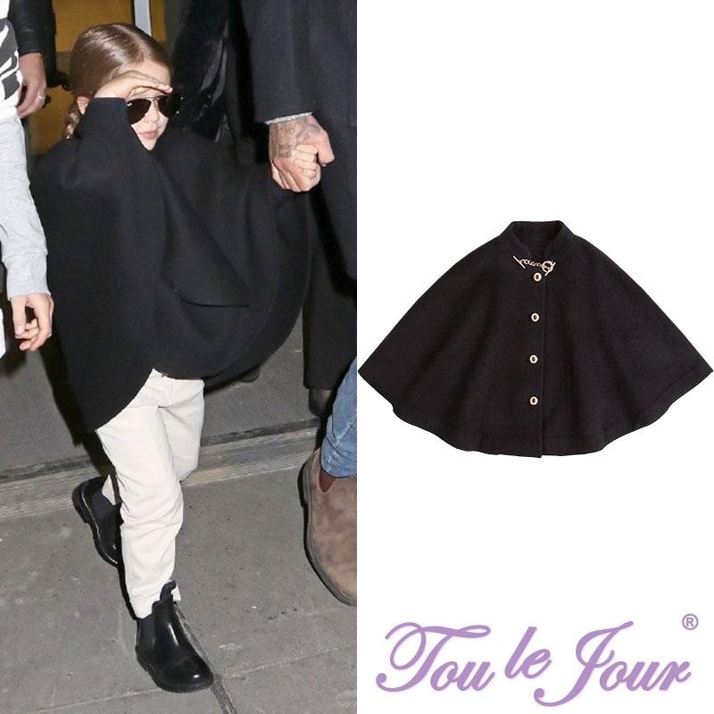 Toulejour девочки одеть небольшой семь в этом же моделье военная форма дизайн золотая цепочка черный шерсть плащ плащ шаль