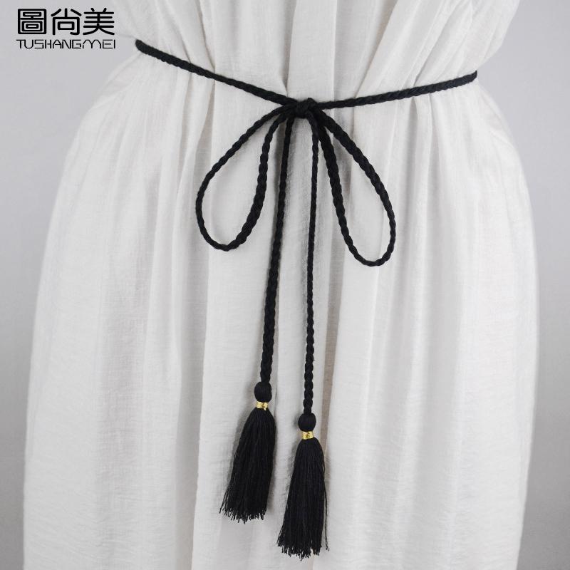 简约百搭女棉线编织腰绳束腰细腰带