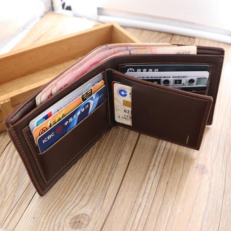 新款10.9包邮男士商务短款三折好质量钱包多卡位皮夹Men's Wallet图片