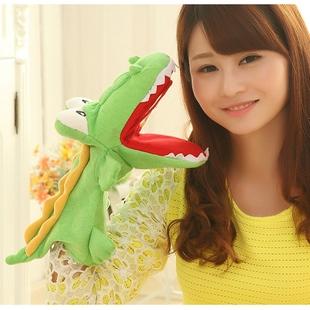 鳄鱼手偶玩具嘴巴能动儿童腹语手套布偶卡通鳄鱼手指玩偶毛绒娃娃