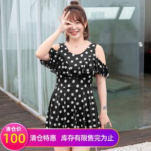 【清仓100元】加大码女装夏装 拼接飘片露肩波点连体泳衣M1905183价格