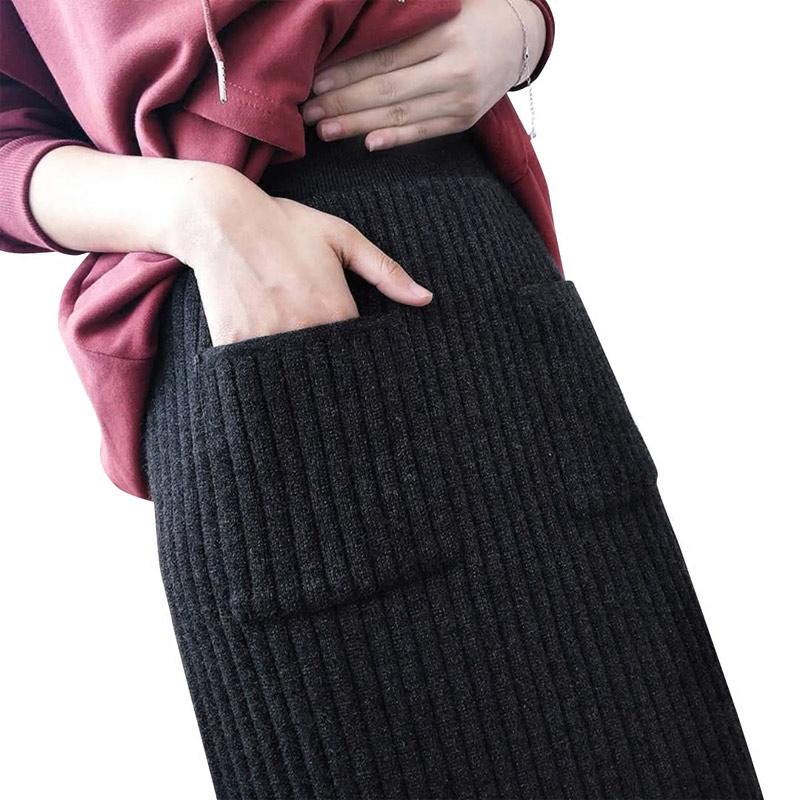 针织半身裙子女中长款开叉一步裙秋冬加厚新款大码直筒羊毛线裹裙