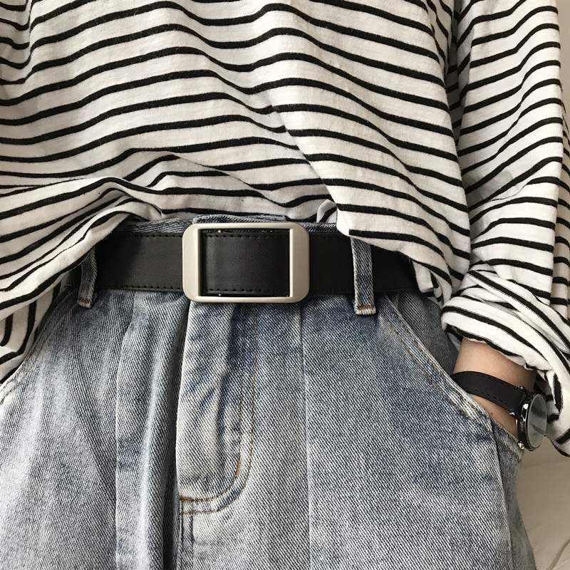 韩国新款无孔不用打孔的简约扣腰带(用22.2元券)