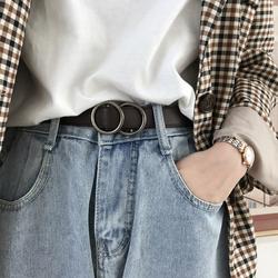 韩国秋冬新款小腰带西装裤皮带无孔免打孔方便裤带女士流行腰封潮