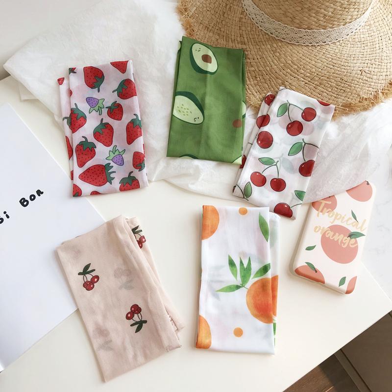 (用14.1元券)夏天小清新防晒手臂袖套冰丝水果牛油果草莓樱桃印花开车神器橘子