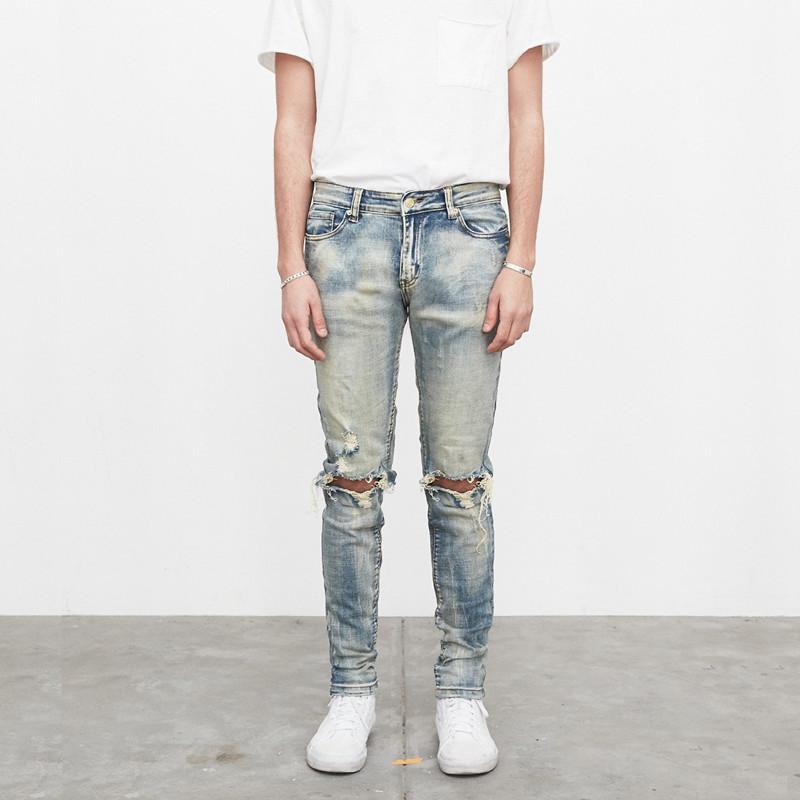 纽约潮牌profound Destroyed Denim洗水做旧 破洞 弹力紧身牛仔裤