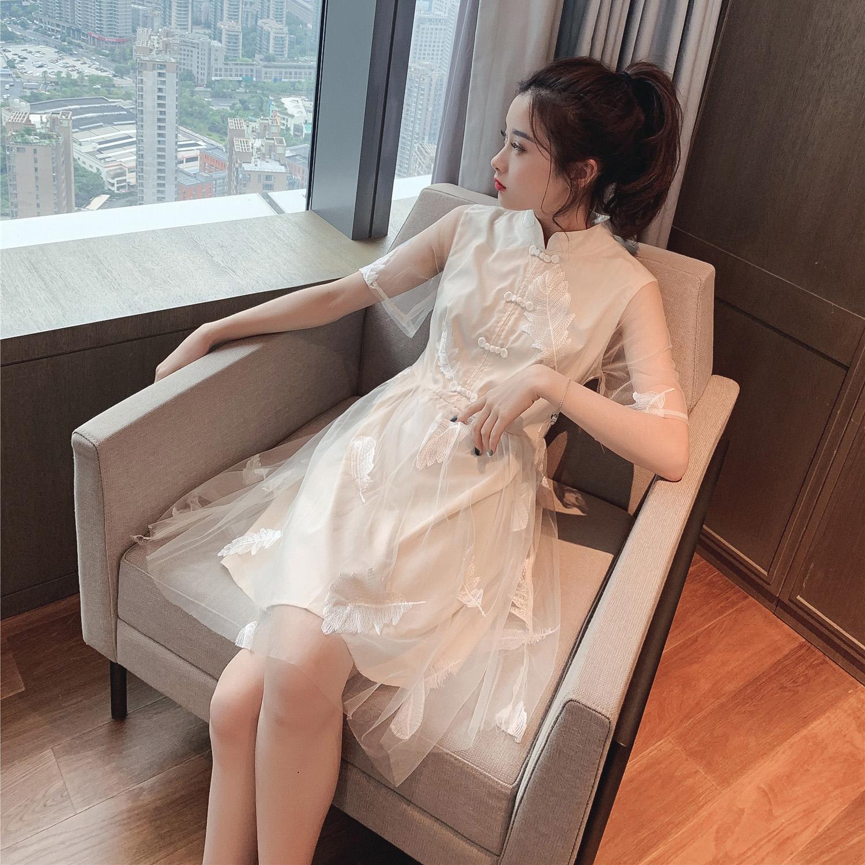 2019新款夏装改良版新式刺绣旗袍连衣裙少女风日常年轻款a字裙子