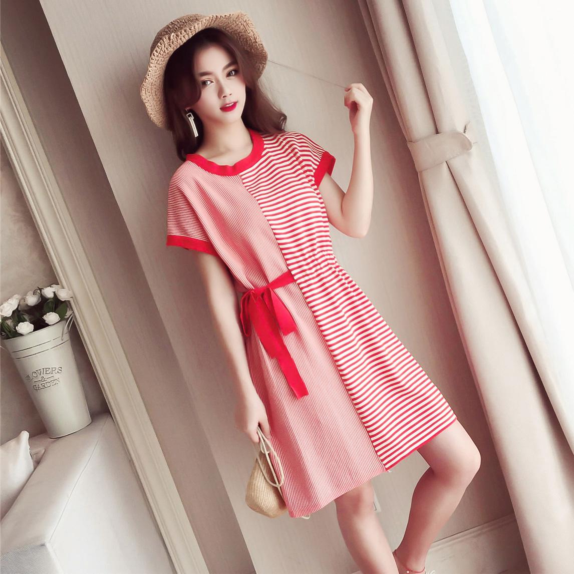 T恤裙女夏装2018新款韩版宽松慵懒风裙子短袖休闲条纹针织连衣裙