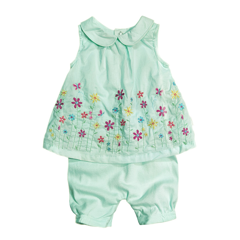 Summer new nubao Jumpsuit girls cute fashion skirt khayi embroidered cotton breathable Baby Short creeping suit