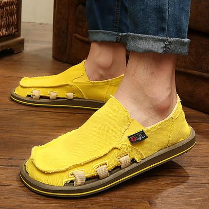 低帮帆布鞋宽脚懒人鞋潮流乞丐鞋一脚蹬休闲鞋春夏季透气个性男鞋