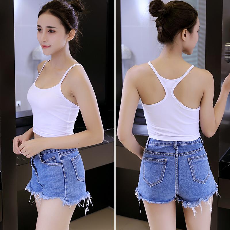 Suspender Strapless vest womens summer Pure Cotton Striped sleeveless slim fit inner bottom shirt and short open navel top