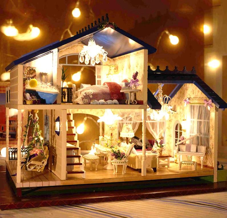 diy小屋手工拼装模型梦幻公主小房子别墅玩具送女孩女生生日礼物