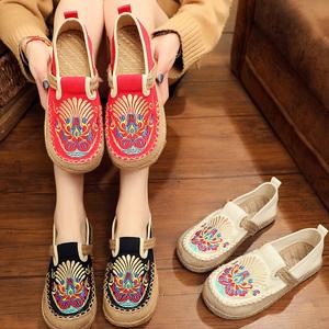 新款民族风女鞋复古圆头休闲透气学生帆布单鞋亚麻老北京布鞋草鞋