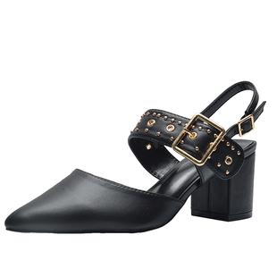 小ck包頭涼鞋2020夏季新款瑪麗珍鞋尖頭朋克鉚釘粗跟高跟鞋單鞋