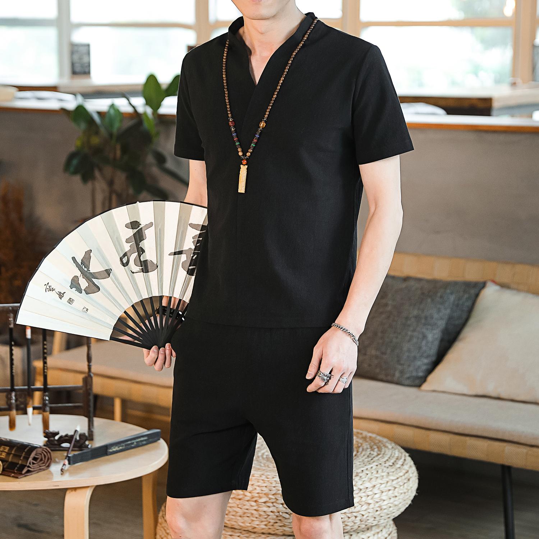 DY22*2019夏季男士棉麻短袖T恤套装大短裤两件套装男 黑色 * P38