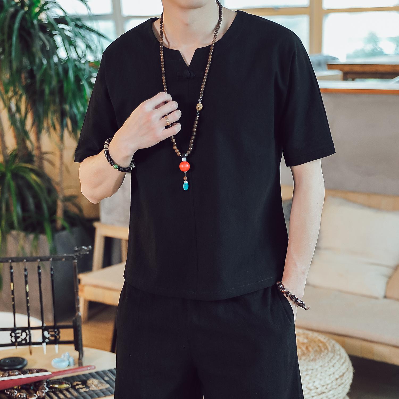 DY16*夏季2019男士棉麻短袖T恤套装长裤两件套装男 黑色 *P55