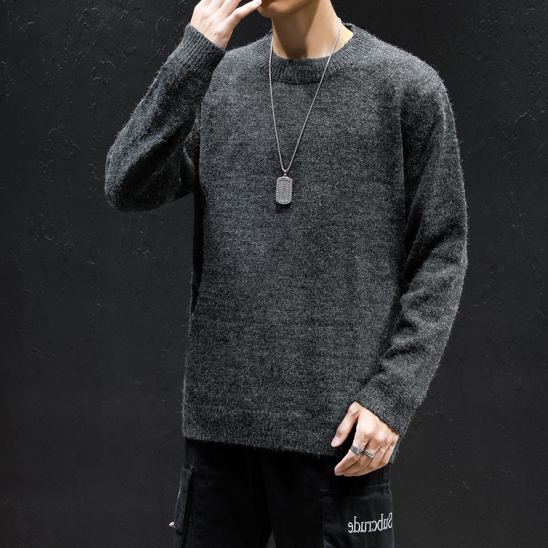 9057*黑墙 日系秋冬男士纯色宽松长袖毛衣针织衫男 黑色 *P65