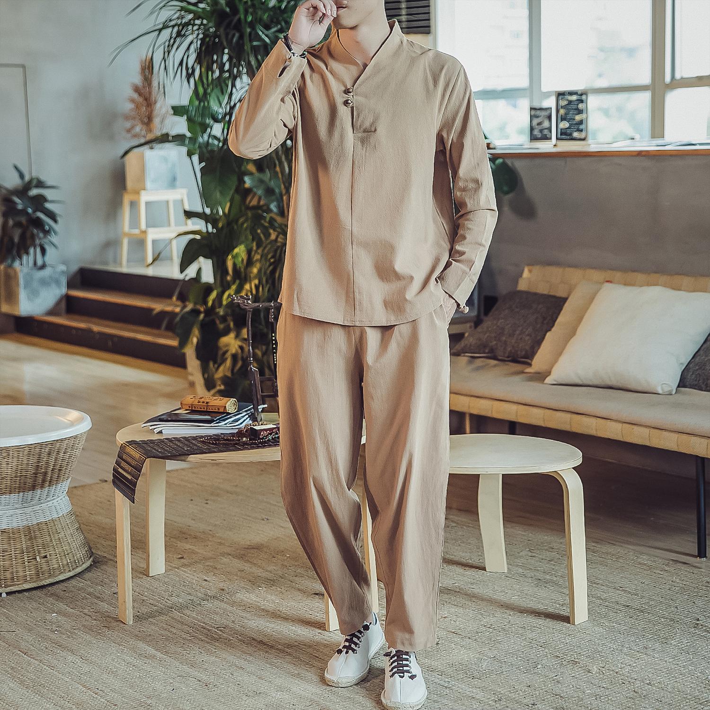 DY15*2020春季男士棉麻长袖T恤套装阔腿裤宽松男 卡其全身 *P70