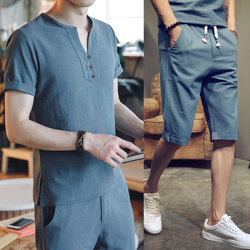 DY04*夏季男士棉麻短袖T恤男中裤七分裤亚麻料两件套装 墨绿 *P55