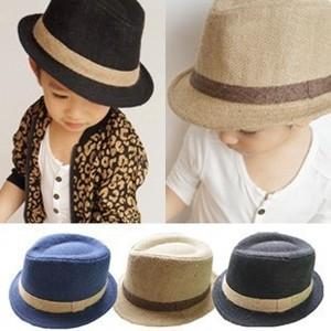 棉麻韩版儿童礼帽宝宝帽子春夏季男童女童爵士帽太阳帽童帽潮亲子