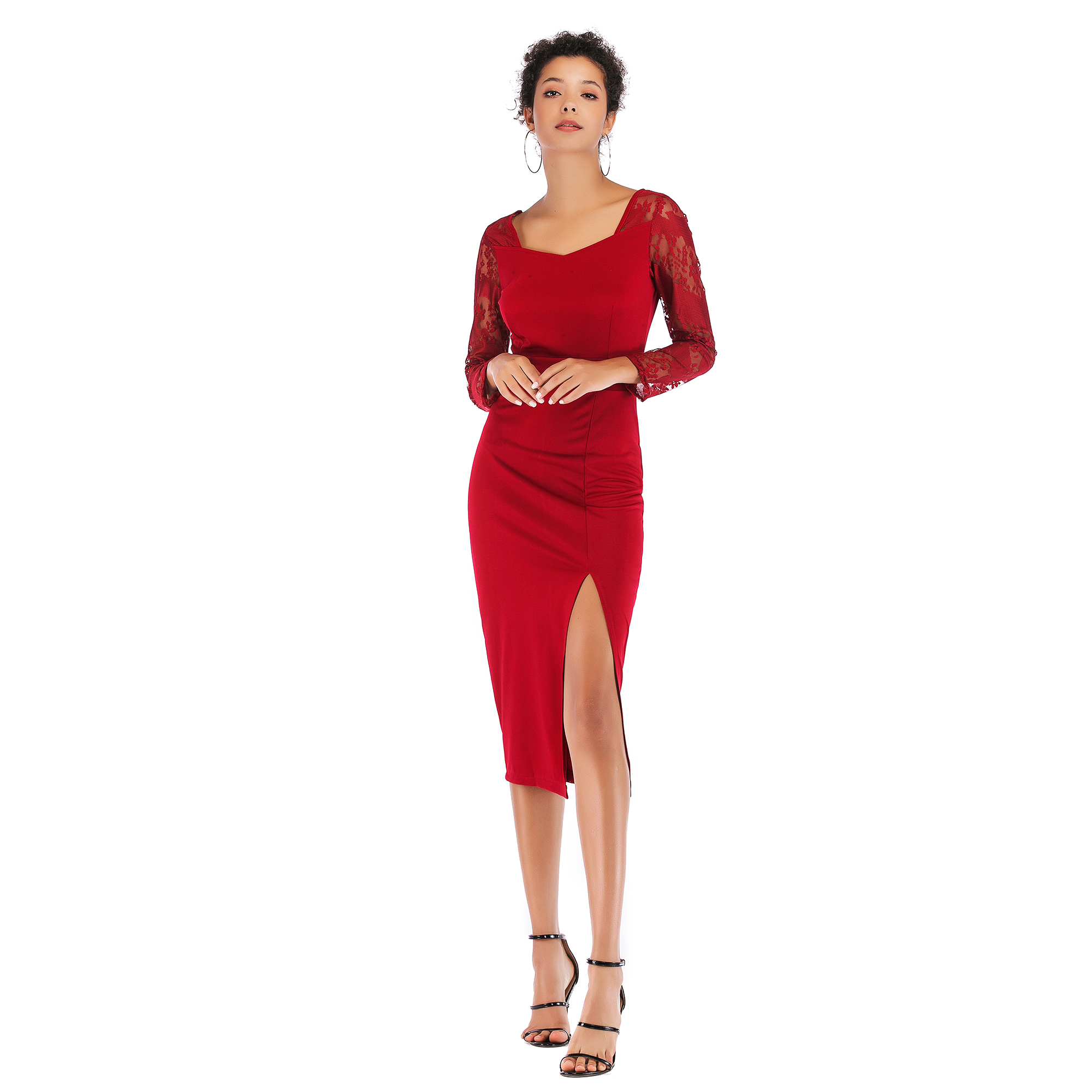 5935 ebay速卖通秋冬款欧美蕾丝拼接袖包臀裙性感开叉纯色铅笔裙
