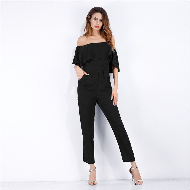 Real 5449 fast selling hot selling one line collar open shoulder lotus leaf edge solid Chiffon straight tube Jumpsuit pants