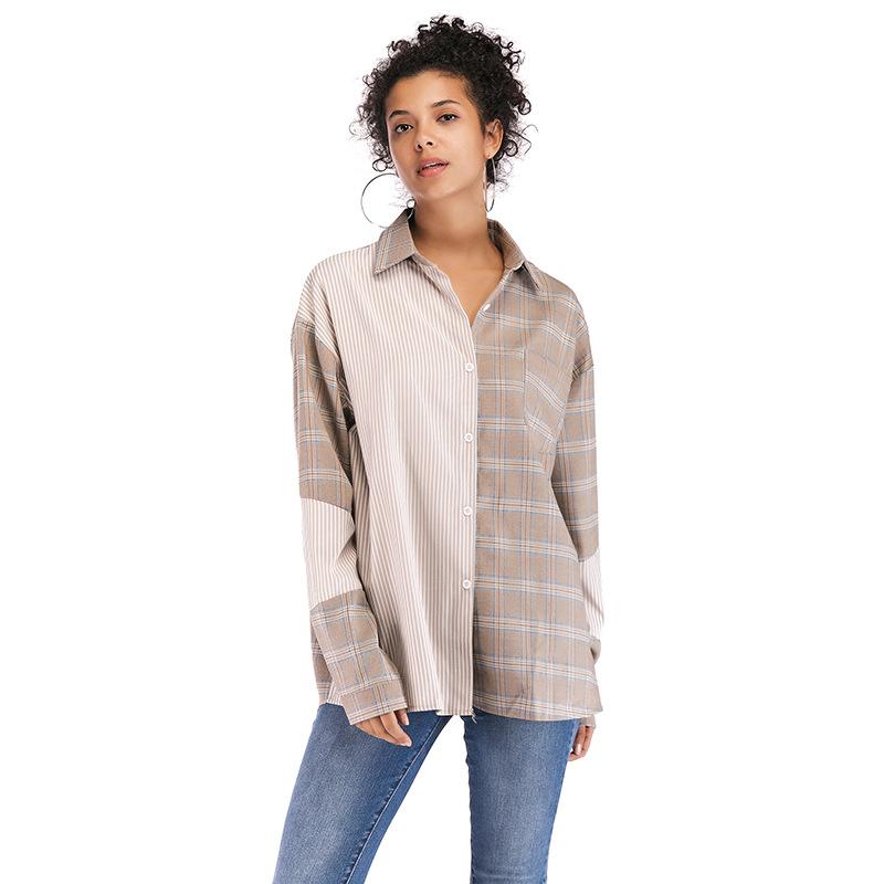5884 速卖通亚马逊秋季新款欧美复古长袖上衣翻领配腰带拼接衬衫